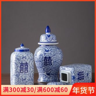 The New Chinese blue and white porcelain jar of jingdezhen ceramic porch decoration with cover storage tank home sitting room adornment is placed