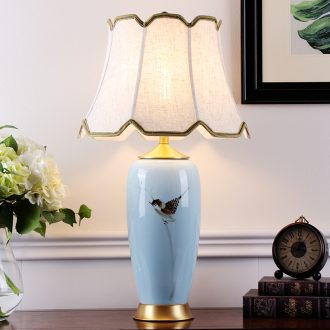 New Chinese style ceramic desk lamp sitting room villa decoration place of bedroom the head of a bed full of copper lamps and lanterns Chinese wind restoring ancient ways is sweet