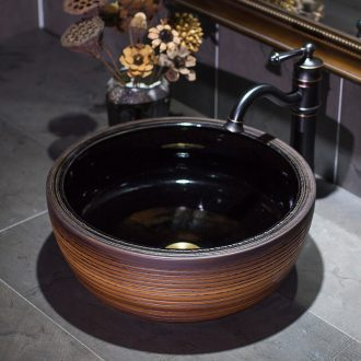 Jingdezhen ceramic lavatory black glaze line stage basin restoring ancient ways round the sink water basin of Chinese style basin that wash a face