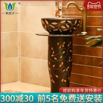 The small family small balcony pillar lavabo one - piece simple toilet ceramic lavatory basin basin