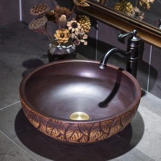 Jingdezhen Chinese style restoring ancient ways ceramic lavatory brown leaves the stage basin round toilet balcony basin that wash a face to wash your hands