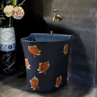 Ling yu, maple leaf carving mop pool of household ceramic mop pool bathroom balcony mop mop pool porcelain basin pool