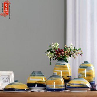 Home sitting room receptacle furnishing articles modern flower implement decoration in jingdezhen ceramic flower flower knot wedding made stripe