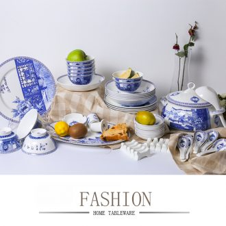 """Jade cypress ceramic tableware suit high - grade ipads China jingdezhen blue and white porcelain is a housewarming gift porcelain """"feel"""""""