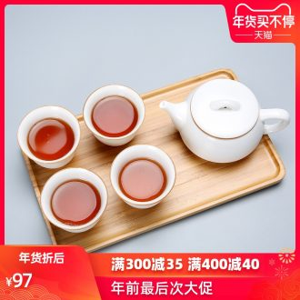 Passes on technique the white porcelain up with a pot of four cups of portable office travel kung fu tea set small suit the teapot dry terms ceramic plate