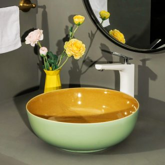 Nordic stage basin to round the sink ceramic bathroom sinks single household art basin fruit - green crack