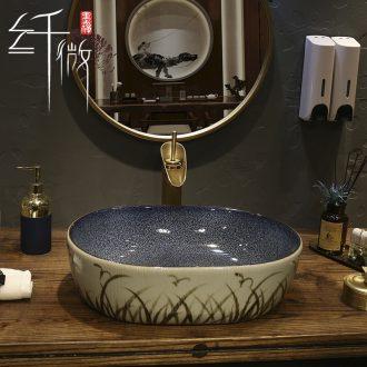 European ceramic household face on stage basin on the oval hands basin bathroom balcony art basin basin