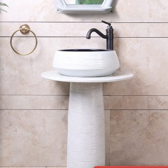 The sink basin integrated creative pillar face basin bathroom floor type of household ceramics art for wash basin