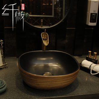 On the ceramic lavabo square art lavatory basin of Chinese style to wash face basin restore ancient ways the Nordic toilet basin