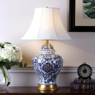 The New Chinese American large blue and white porcelain hand - made lamp hotel club villa decorates sitting room soft furnishing articles