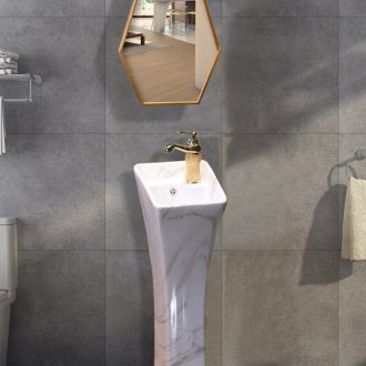 Ling yu, small family pillar basin floor ceramic lavatory small vertical integrated sink basin to Europe type column