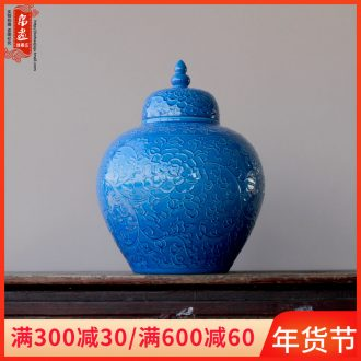 Porch receive furnishing articles of jingdezhen ceramics relief blue vase pot - bellied pot flower arranging Chinese style household ornaments