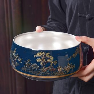Tao blessing ceramic tasted silver gilding ji blue big tea wash to household silver kunfu tea cups receive a pot of tea to wash