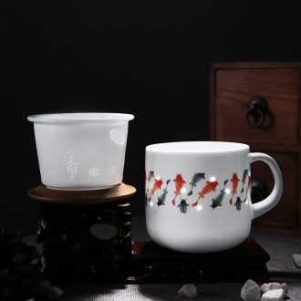 Exquisite jade cypress ceramic cup big filter cup brocade carp cup and Exquisite cups capacity office creative cup cup