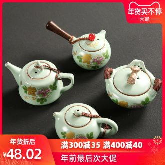 Passes on technique the up start imitation song dynasty style typeface your up kung fu tea set single pot of ceramic household wood the side the teapot hand grasp pot
