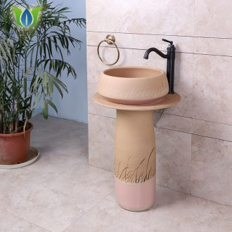 Pillar lavabo cylindrical ceramic art integrated floor household washing basin bathroom wash basin