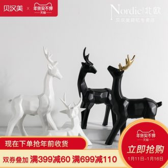 Nordic contracted ceramic art of creative home furnishing articles sitting room adornment marriage birthday gift decoration picking deer