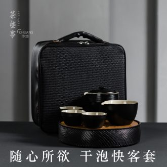 Famed travel outside the kung fu tea set portable BaoHu black pottery cup to crack a pot of 23 2 cups of 3 ceramic household