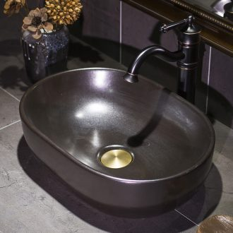 Black metal basin on its European ceramic glaze art petals lavatory basin basin on the sink