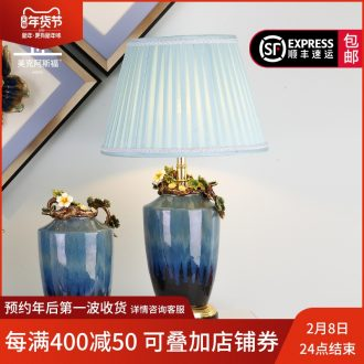 Colored enamel porcelain lamp sitting room key-2 luxury atmosphere, the American creative villa crystal lighting lamps and lanterns of bedroom the head of a bed