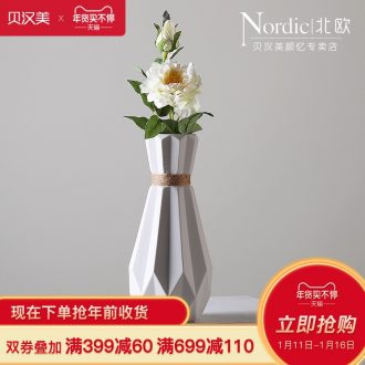 The Nordic hemp rope vase contracted sitting room dining - room desktop small pure and fresh and creative origami ceramic flower arrangement ornaments furnishing articles