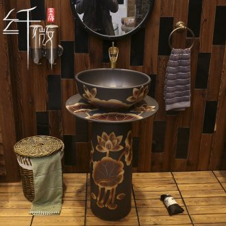 Basin of Chinese style art pillar floor archaize ceramic sink Basin sinks one of new Chinese style garden