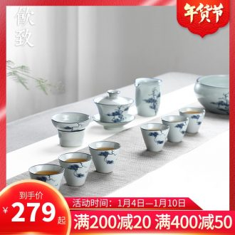 Ultimately responds to jingdezhen antique hand - made kung fu tea set suit household ceramics tureen tea cups of a complete set of simple gift boxes