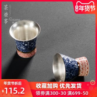 Famed personal cup 999 coppering. As silver glass ceramic cups kung fu tea cup master cup sample tea cup hat to CPU
