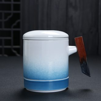 Auspicious edge filter ceramic tea cup with wooden handle with cover keller large capacity domestic tea cup gift box office