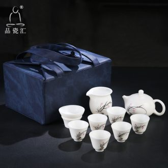 Kung fu tea set travel portable office small household whole dehua ceramic whiteware hand - made a pot of tea cups