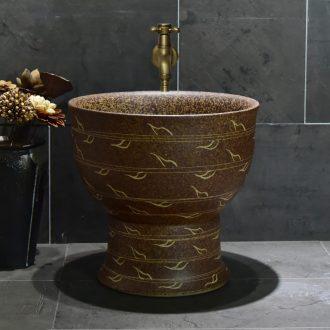 Jingdezhen ceramic mop pool petals line art restoring ancient ways household balcony toilet archaize easy mop pool