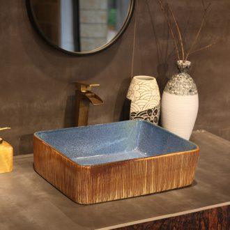 Jingdezhen restoring ancient ways is the stage basin sink square, black ceramic lavatory basin of Chinese style art basin
