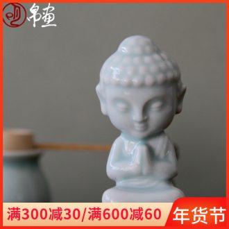 Shadow green ceramic small crossing their creative its elves tea pet/meditation figure of Buddha of record limit sweet comfort small tea pet