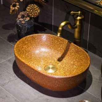 The stage basin yellow kumquat antique art household ceramic lavabo lavatory toilet wash basin