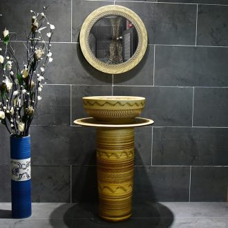 Art the sink pillar type toilet ceramic lavatory is suing floor sink hand - carved grain boundary