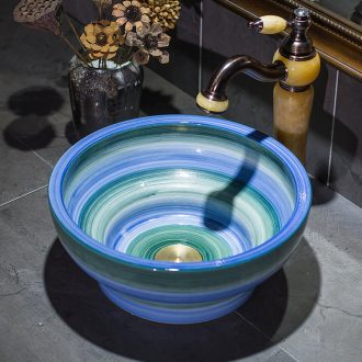 The stage basin small tall foot cup blue green gradient art basin of household ceramic lavabo toilet lavatory basin