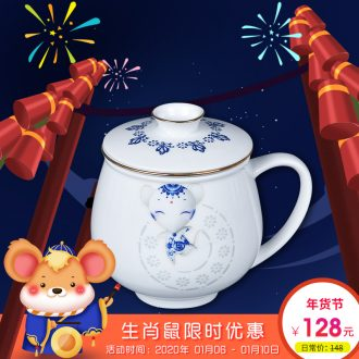 Jade cypress jingdezhen filter cups with cover zodiac and exquisite gift porcelain cup sub contracted large capacity domestic tea cup
