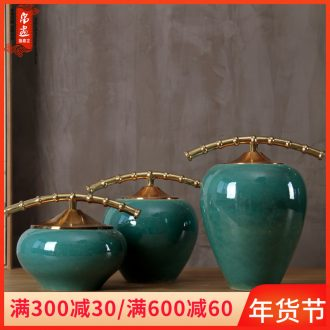 New Chinese style flower furnishing articles creative living room household act the role ofing is tasted European furnishing articles decoration metal fittings ceramic arts and crafts