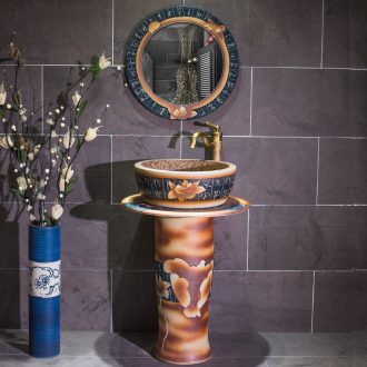 Vertical pillar lavabo ceramics basin one bathroom toilet washs a face basin of pillar landing art on the balcony