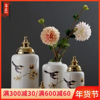 Jingdezhen ceramic furnishing articles gold - plated vase European - style home sitting room porch table desktop decoration ideas