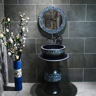 Ceramic basin of pillar type washbasin hand - carved archaize porcelain pillar of small family toilet floor for wash gargle