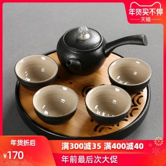 Passes on technique the Japanese black pottery up portable travel kung fu tea set the cloth of a complete set of ceramic tea set the teapot tea tray