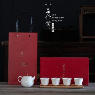 Yipin # $gratitude ceramic teapot teacup home New Year gifts kung fu tea set bamboo tea tray to the saucer