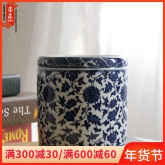 Jingdezhen ceramic furnishing articles brush pot study four treasures blue and white lotus flower hair brush pot home office decoration