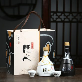 Creative ceramic bottle 1 kg pack of jingdezhen ceramic household hip flask seal wine bottle wine bottle is empty place