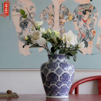 Blue and white porcelain of jingdezhen ceramics flower receptacle living room home decoration flower arranging home furnishing articles