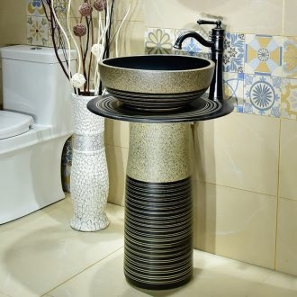 Toilet lavabo ceramic pillar household is suing floor balcony Toilet integrated move for wash basin