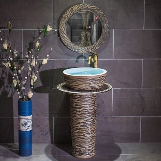 Is suing balcony sink basin pillar landing ceramic vertical lavatory basin one - piece art column basin