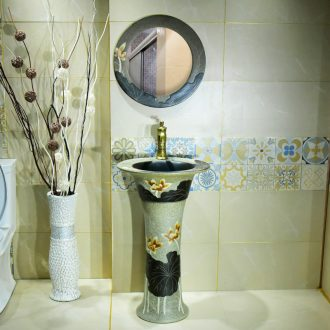 Ceramic column basin one - piece basin one balcony sink console single - column lavatory pillar basin that wash a face