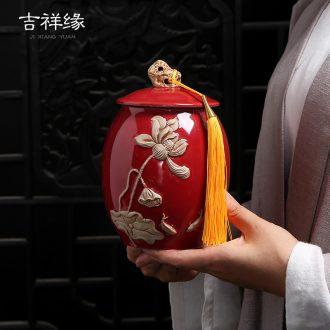 Auspicious edge ceramic tea pot half jins to pu 'er embossed lotus red green tea storage POTS of household